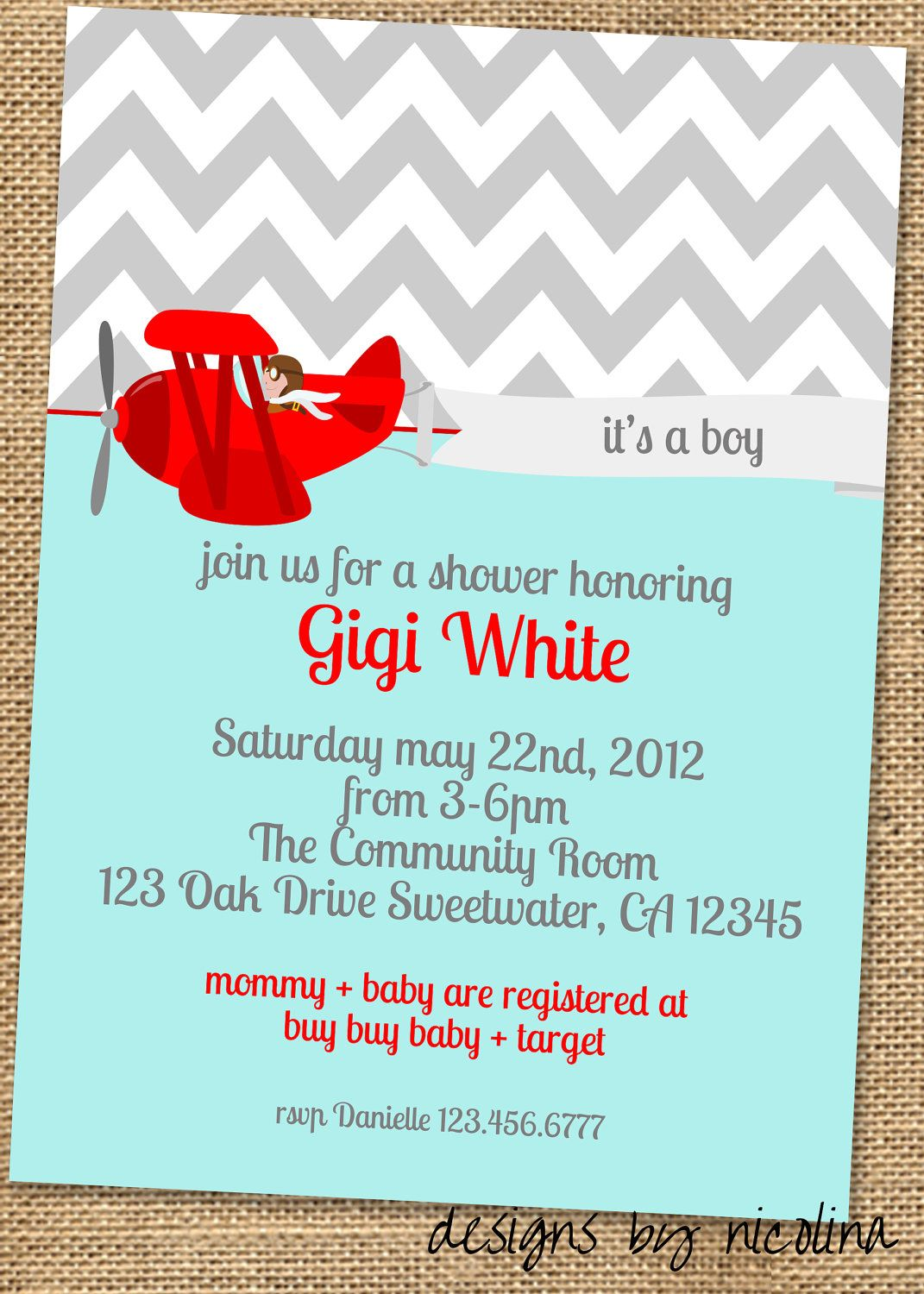Sweet Airplane Boy Baby Shower PRINTABLE Invites | Baby shower ideas ...