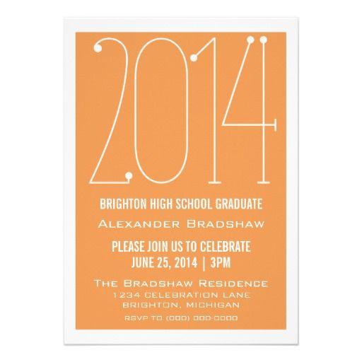 Orange Trendy 2014 Graduation Invitation in each seller make