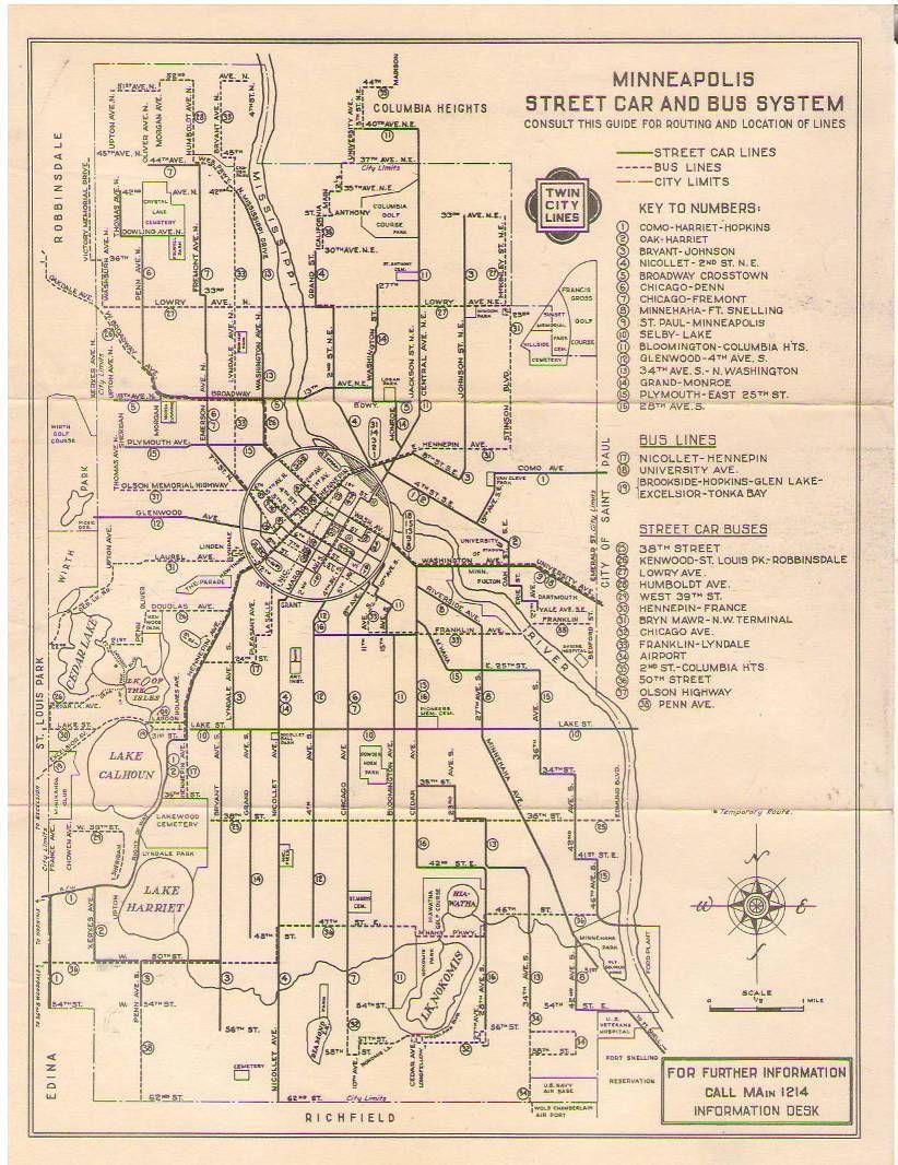 Minneapolis Streetcar Bus Map Ca 1950 Map Minneapolis Bus Map Transit Map Bus System