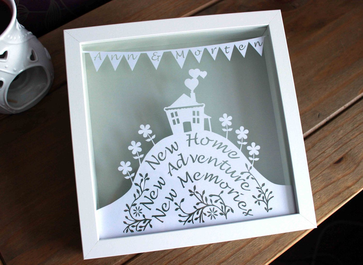 Handmade personalised new home papercut in a white stylish box handmade personalised new home papercut in a white stylish box frame sciox Image collections