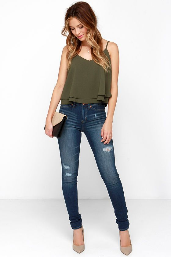 6d959664837 Glamorous Tiers to Us Olive Green Crop Top in 2019 | pants | Green ...