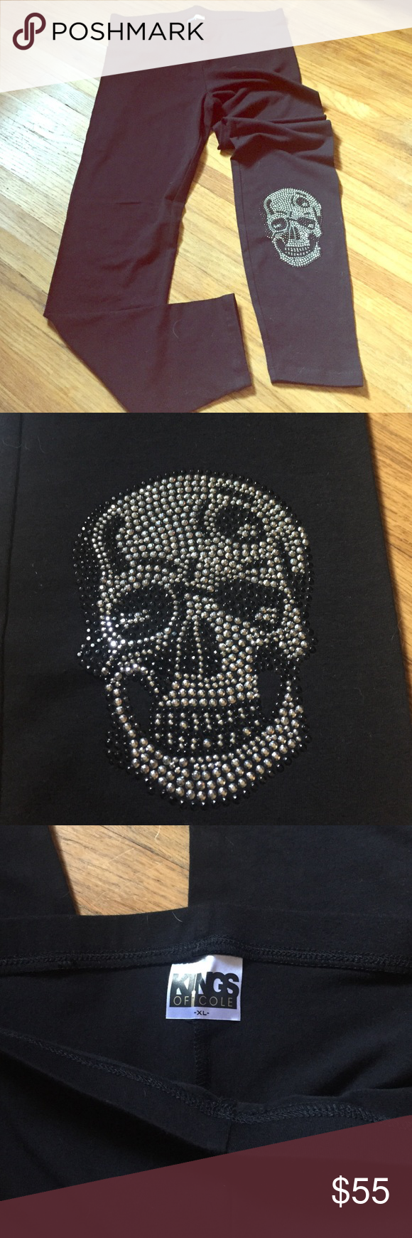 Kings of Cole super soft bling skull legging. Cute Kings of Cole super soft legging w/ silver & black bling embellished skull. Never worn but no tags because they don't send them with any when ordered online. So cute....I just have ALL their stuff and don't have a lot of places to wear them so I have to part with some 😔 Kings of Cole Pants Leggings