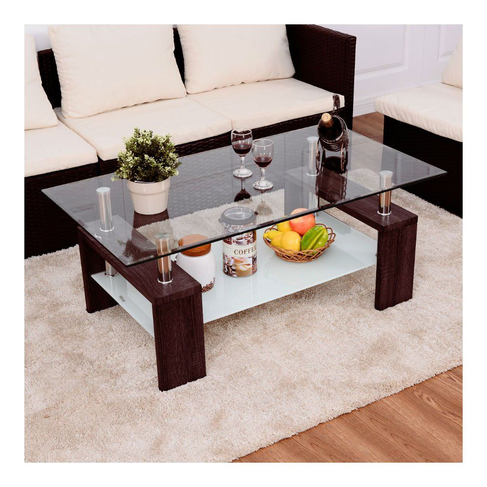 Rectangular Tempered Glass Coffee Table W Shelf Wood Living Room Furniture New For Even More Info Living Room Wood Coffee Table Wood Furniture Living Room [ 1000 x 1000 Pixel ]