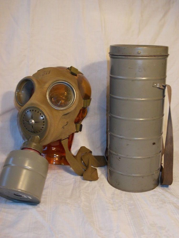 Alte GASMASKE Wehrmacht 2. Weltkrieg mit Behälter RLT 39/45 Eckardt ...