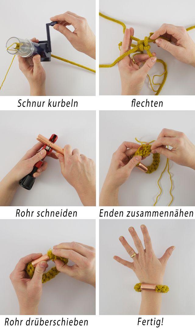 Strickliesel armband mit kupfertwist diy strickliesel armband und schmuck h keln - Strickliesel selber machen ...