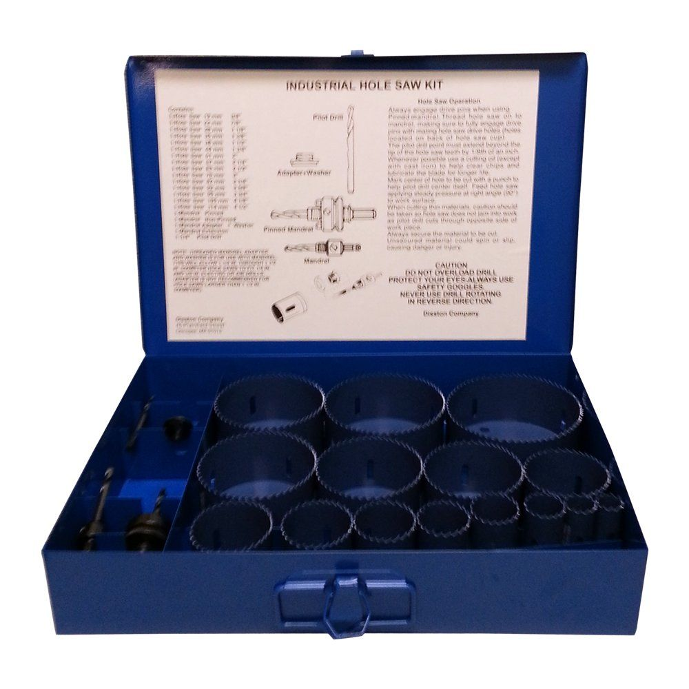 Disston E0103117 Boxed Blumol Bimetal Hole Saw Kits 20piece Industrial Kit Click Image For More Details T Industrial Hole Saw Woodworking Tools