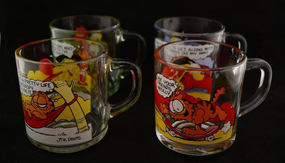 Four 4 vintage 197880 mcdonalds garfield odie glass