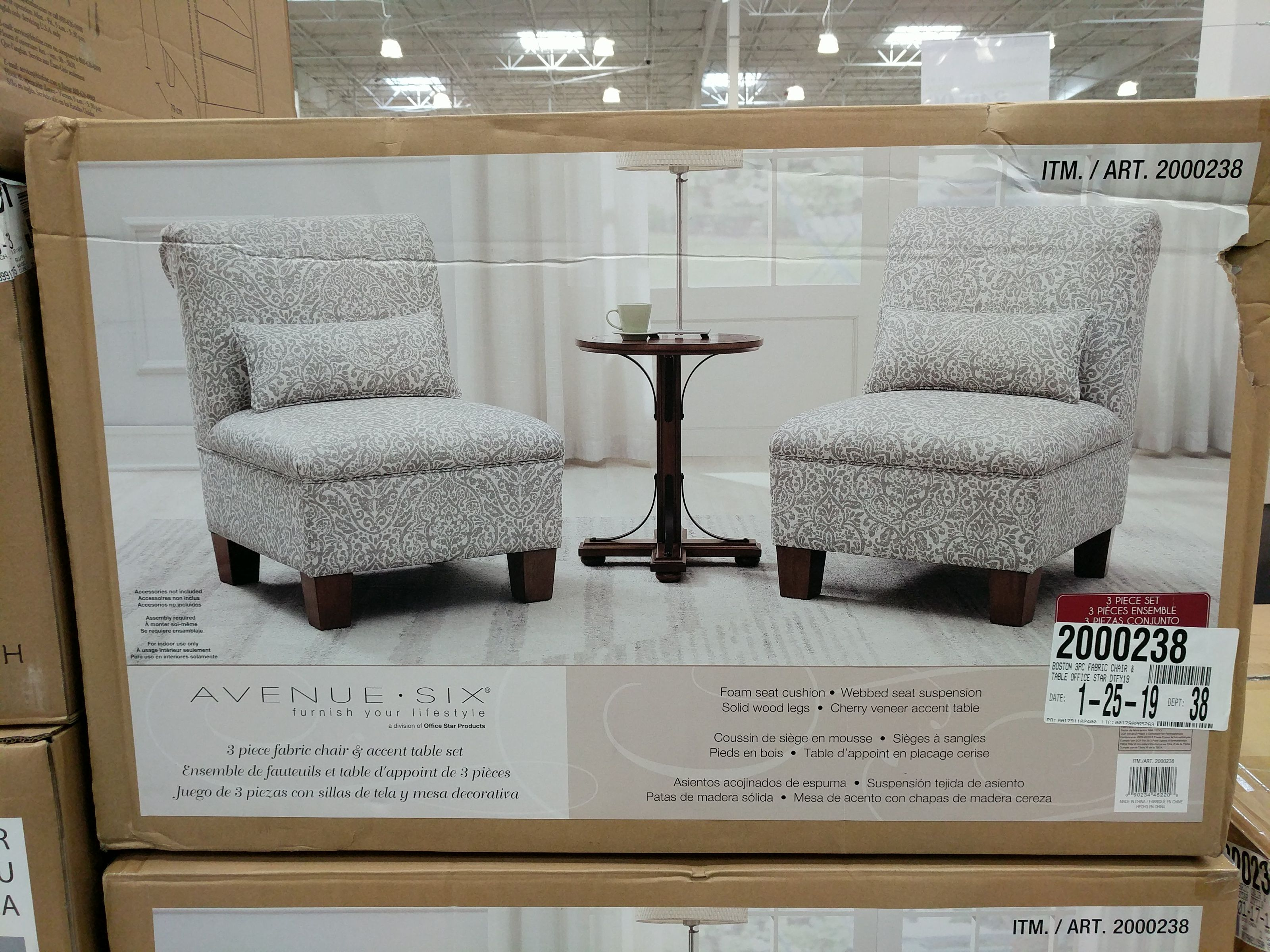 Avenue Six 3 Piece Fabric Chair Accent Table Set Accent Table
