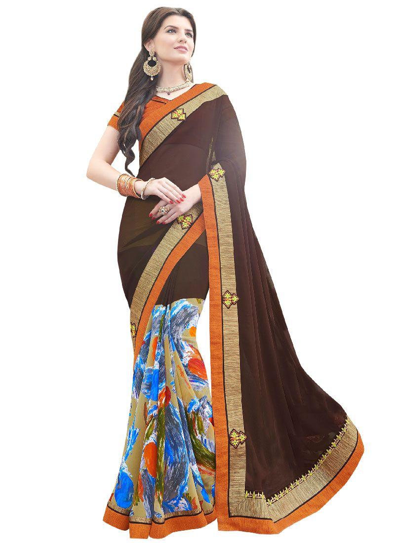 Blissful Multi Colour Georgette Designer Saree