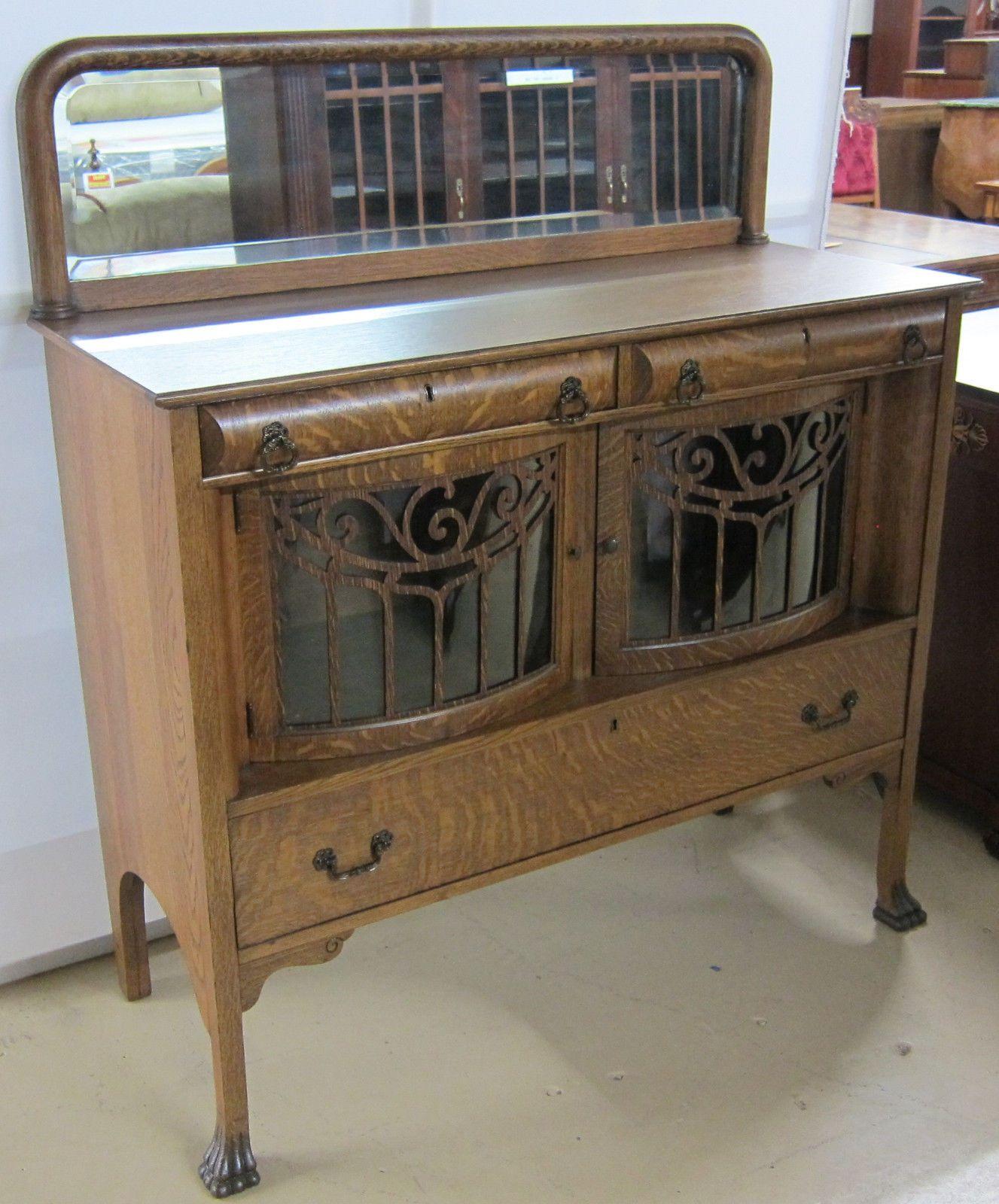 Antique Tiger Oak Sideboard Curved Glass Doors Oak Sideboard