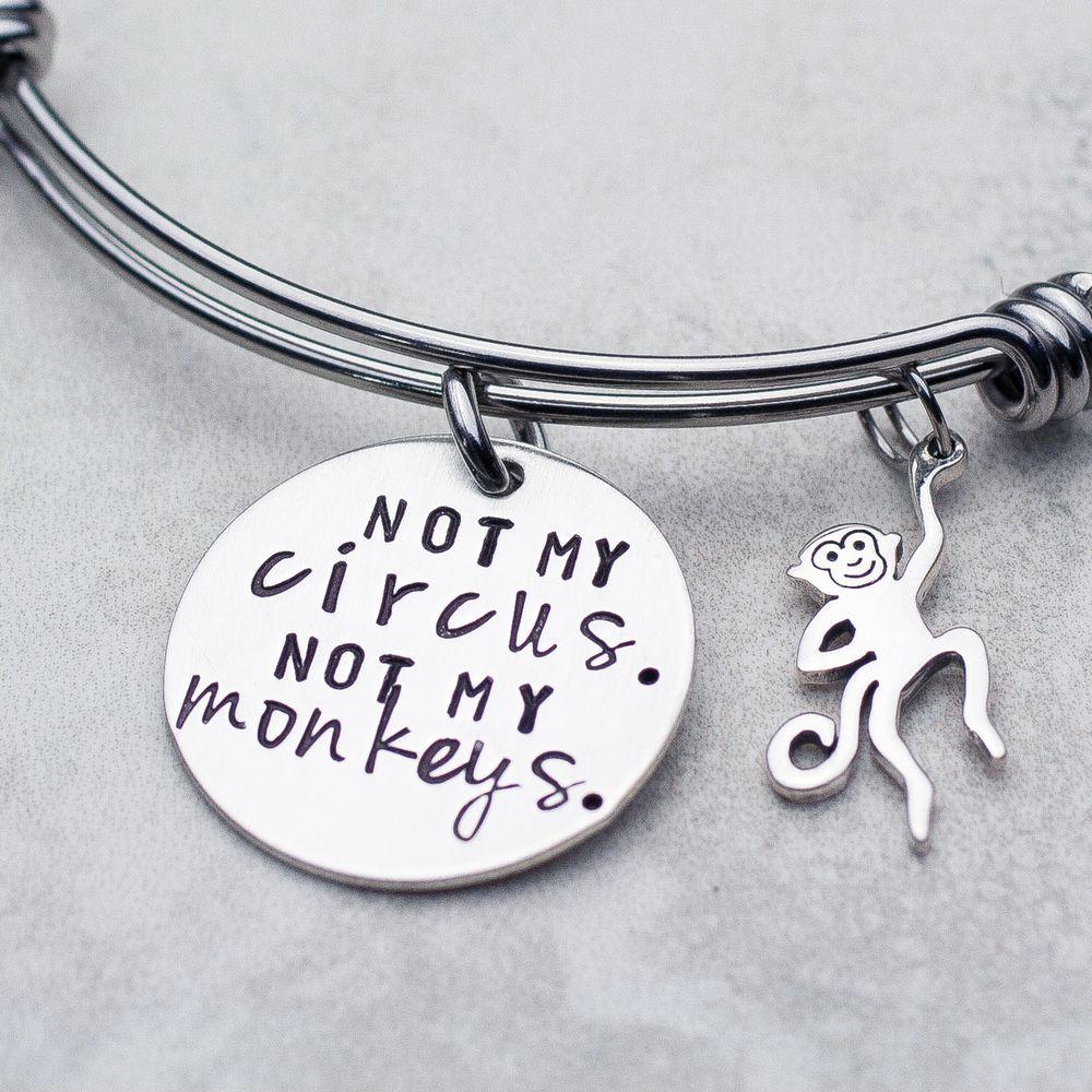 Not my circus not my monkeys expandable bangle charm bracelet