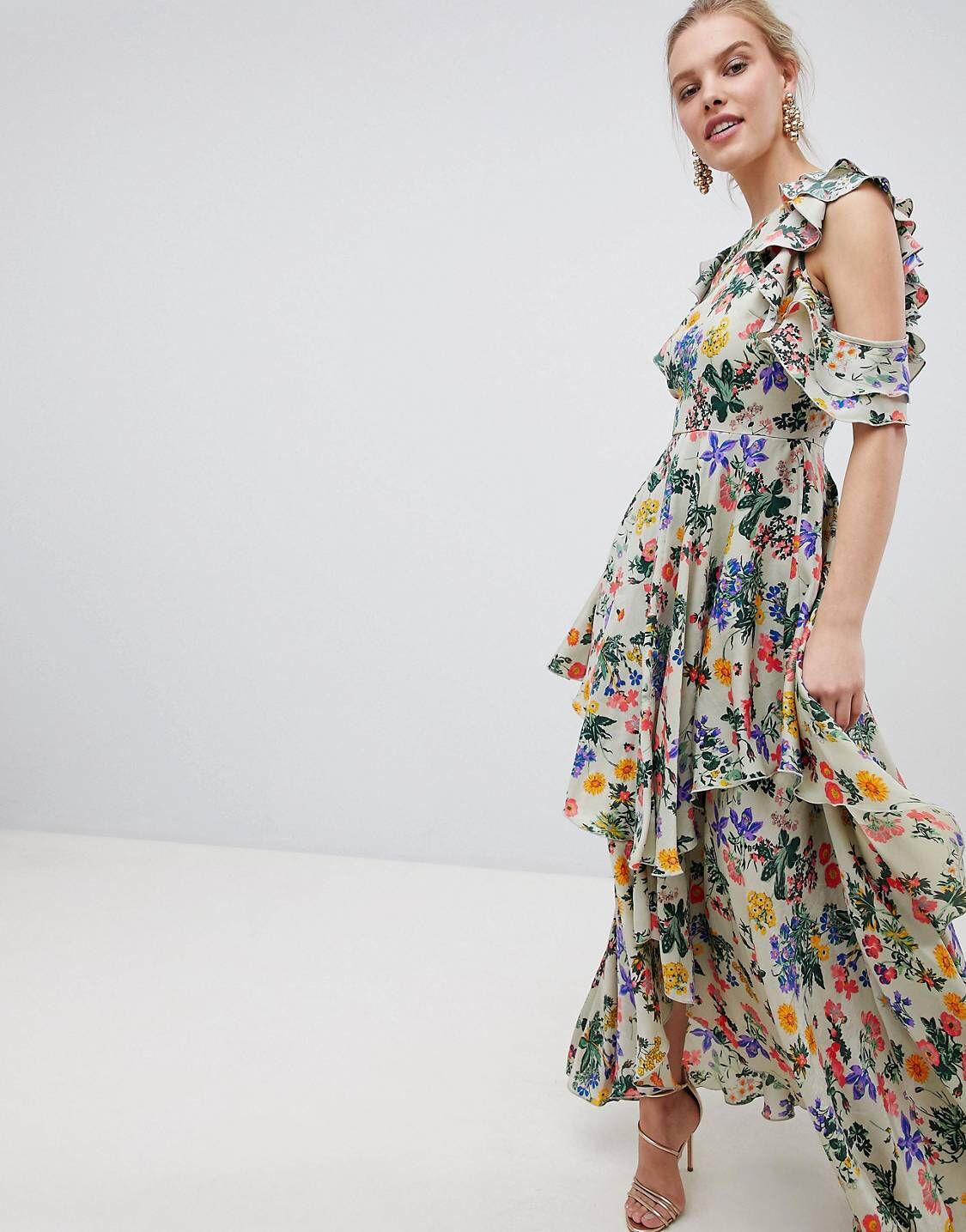 5ec04e86c2ff DESIGN Floral Print Satin Ruffle Sleeve Maxi Dress With Dipped Hem ...