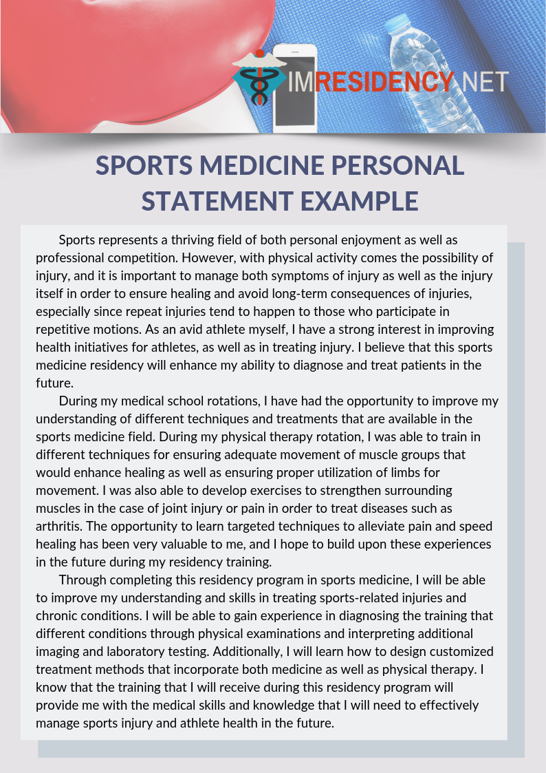 Sports medicine personal statement example that can teach