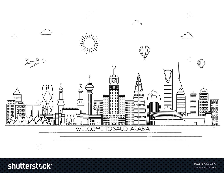 Saudi Arabia detailed Skyline. Travel and tourism background. Vector background. line illustration.