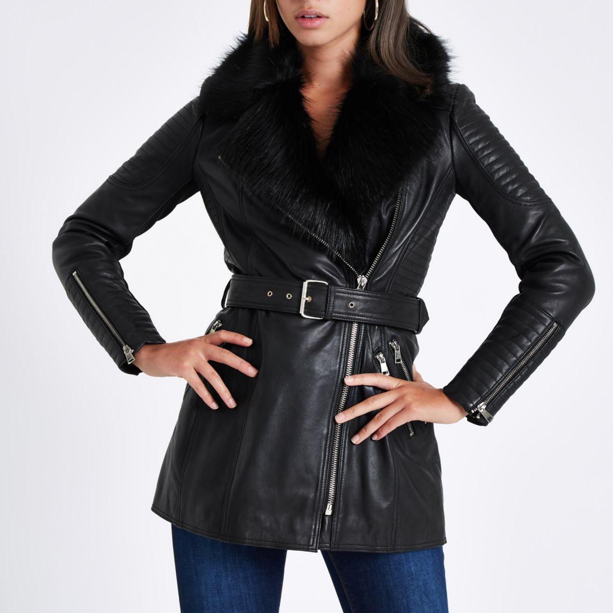 Black faux fur trim leather belted coat Winter jackets