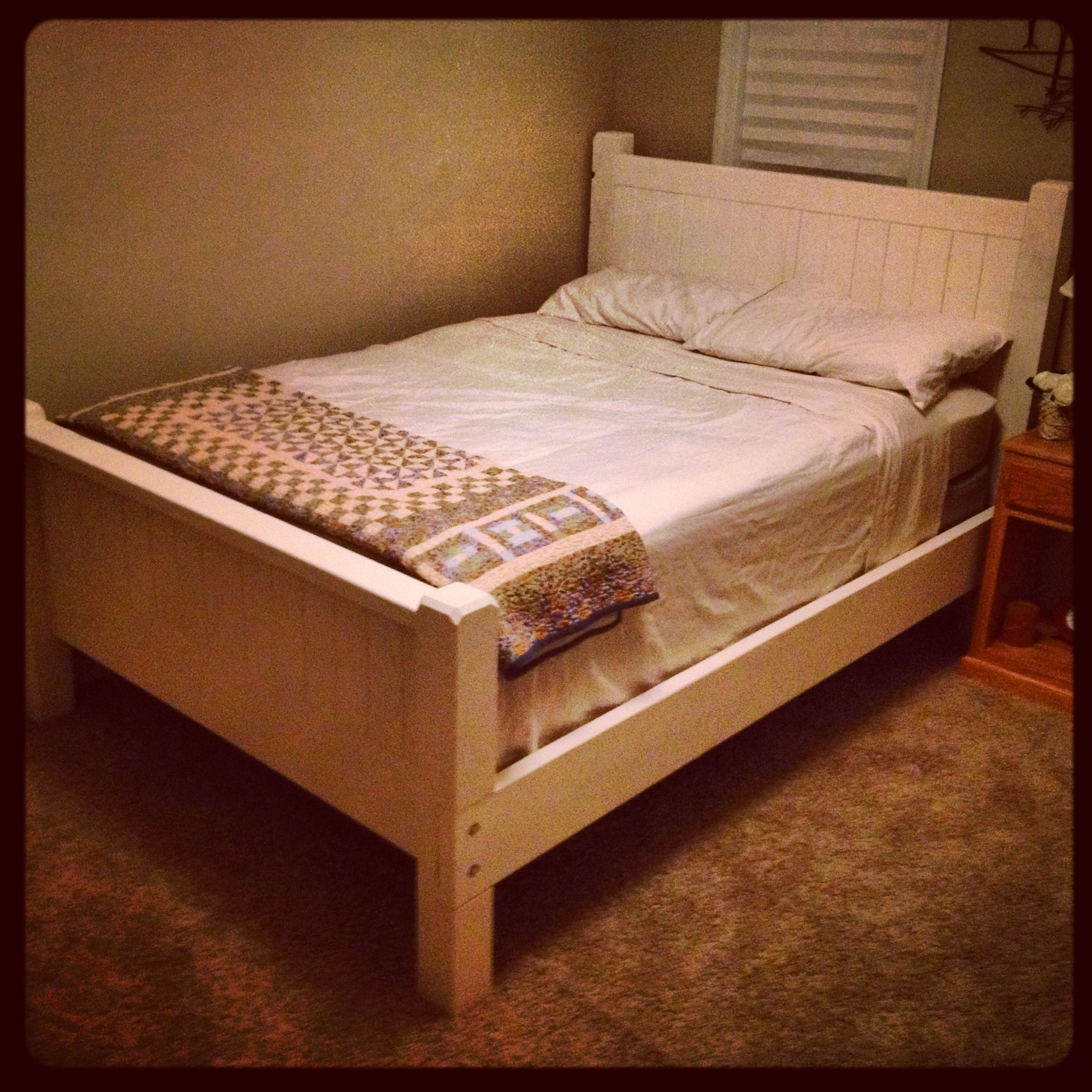 DIY Vintage White Country Bed Frame, full size made from