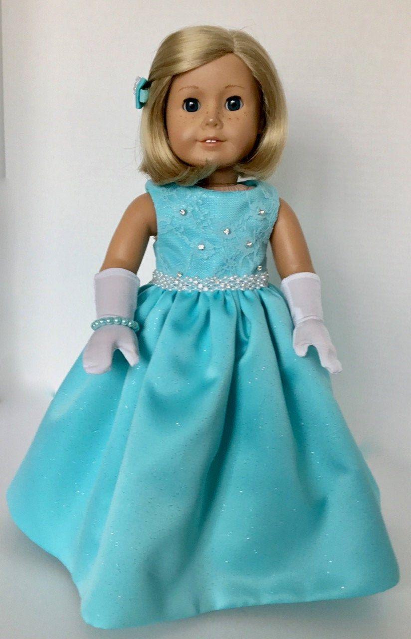 American Girl Doll: Sparkling Aqua Gown #americandolls