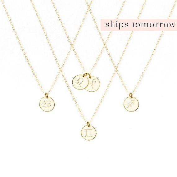 Zodiac Necklace Birthday Women Jewelry Gift Aquarius Taurus Leo Pisces Cancer Aries Gemi