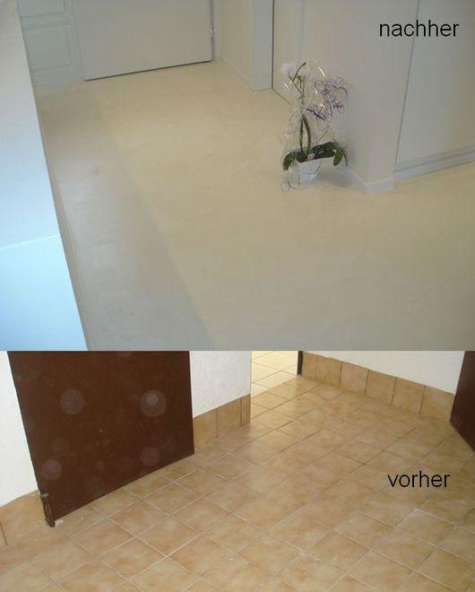 Alter Fliesenboden mit fugenloser Designspachtelung neu gestaltet