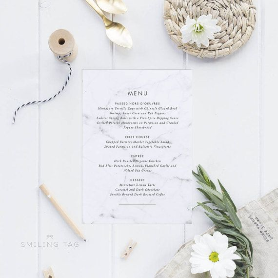 Printable Wedding Menu Printable - Modern Chic Marble Wedding Menu