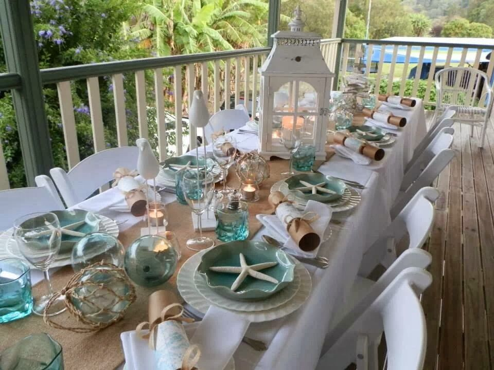 Coastal Table Decor: Table Scape For A Seafood Dinner, But Would Be So Pretty
