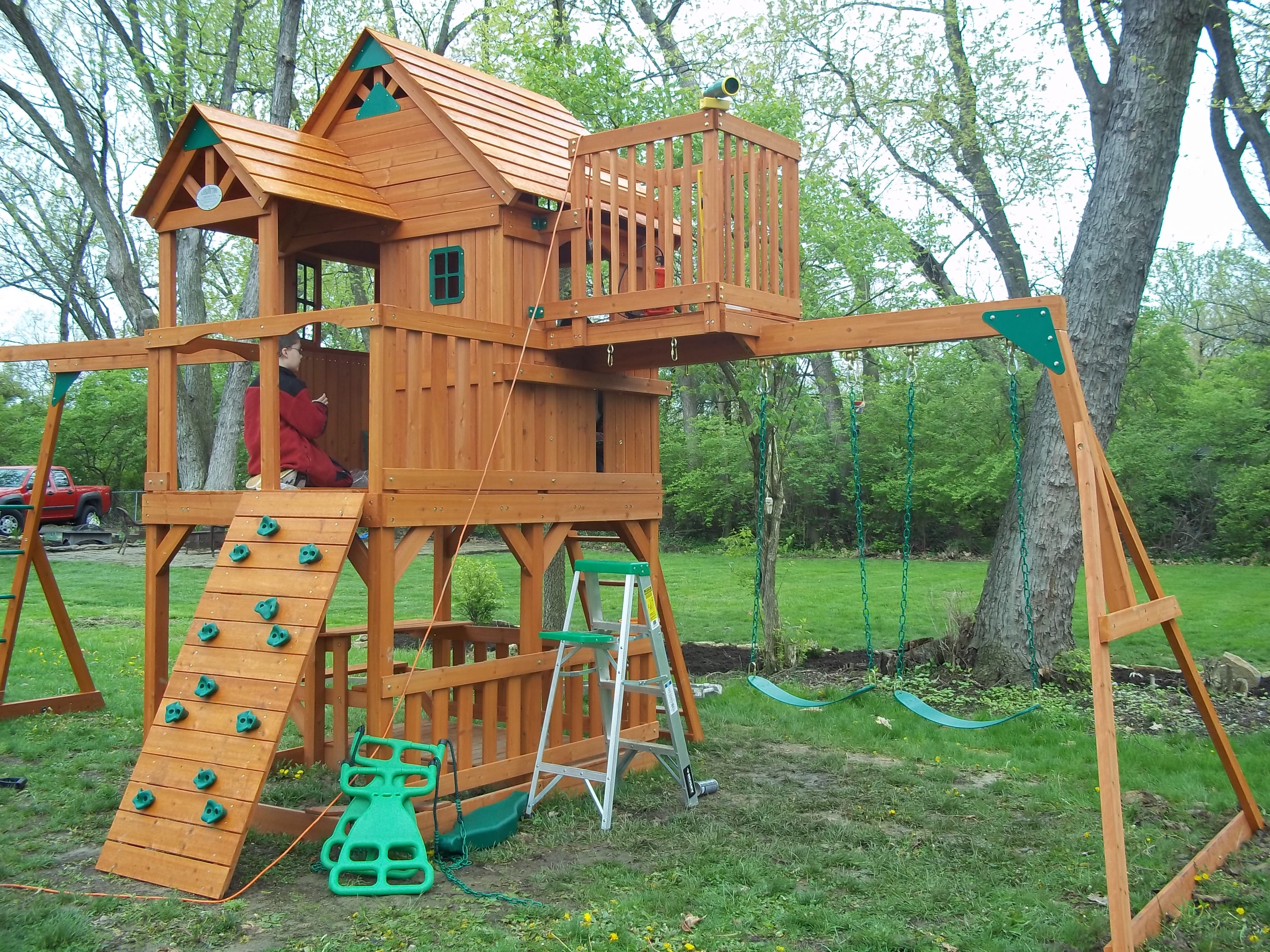 sky fort swing set Clubhouse swingset ideas Pinterest