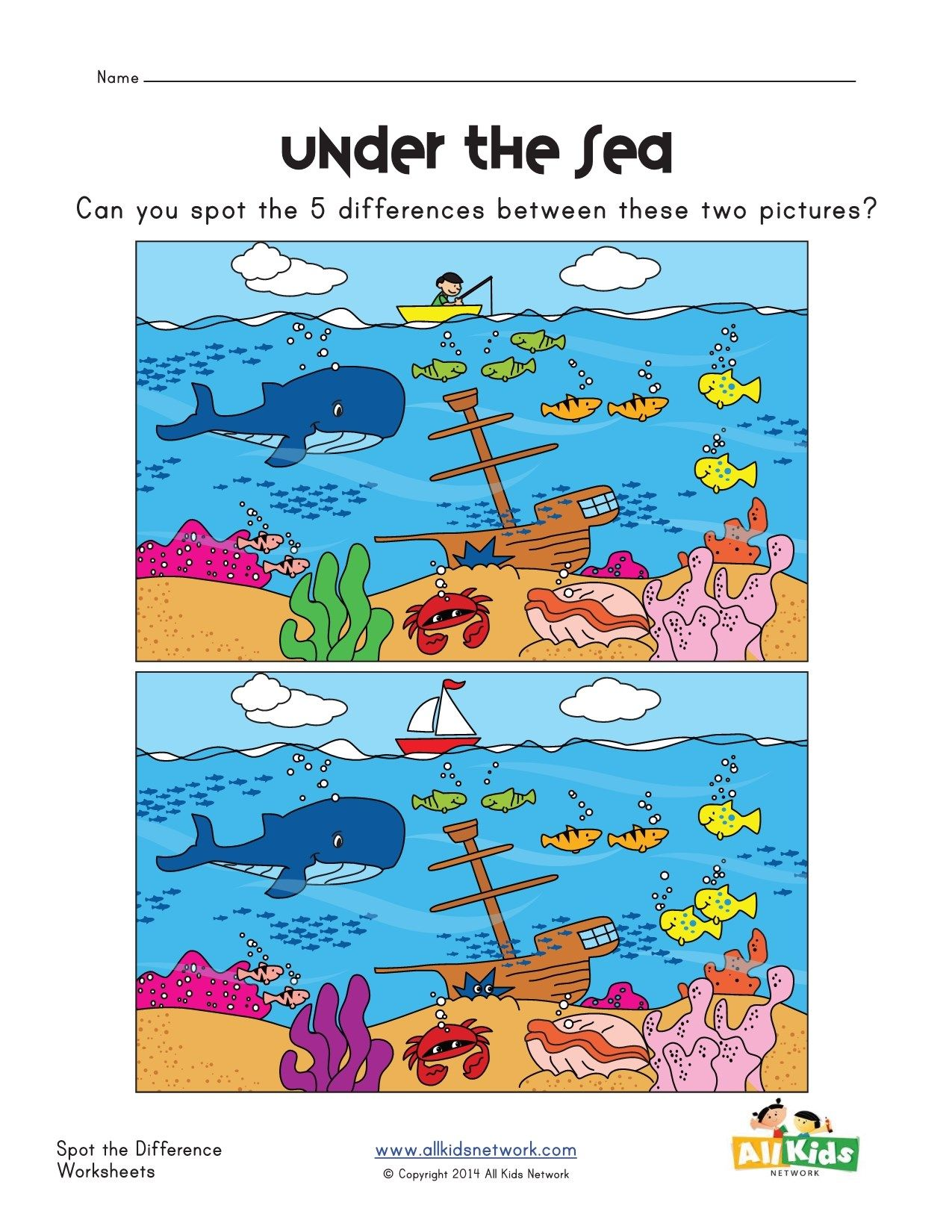 Spot The Difference Sea Worksheet