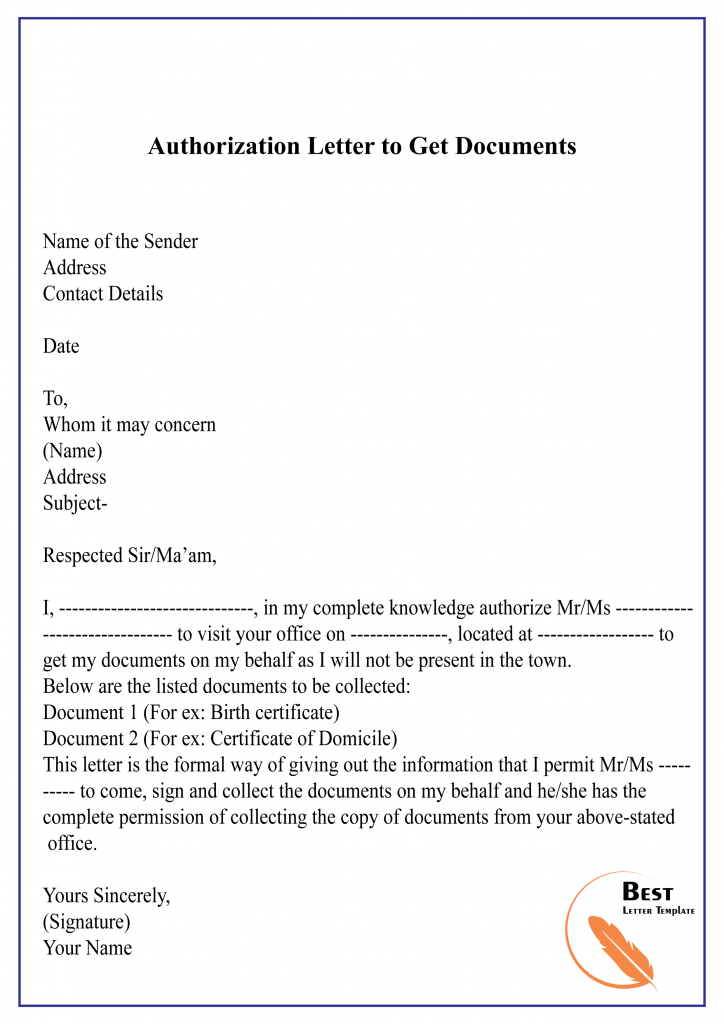 Authorization Letter to Process Documents Sample