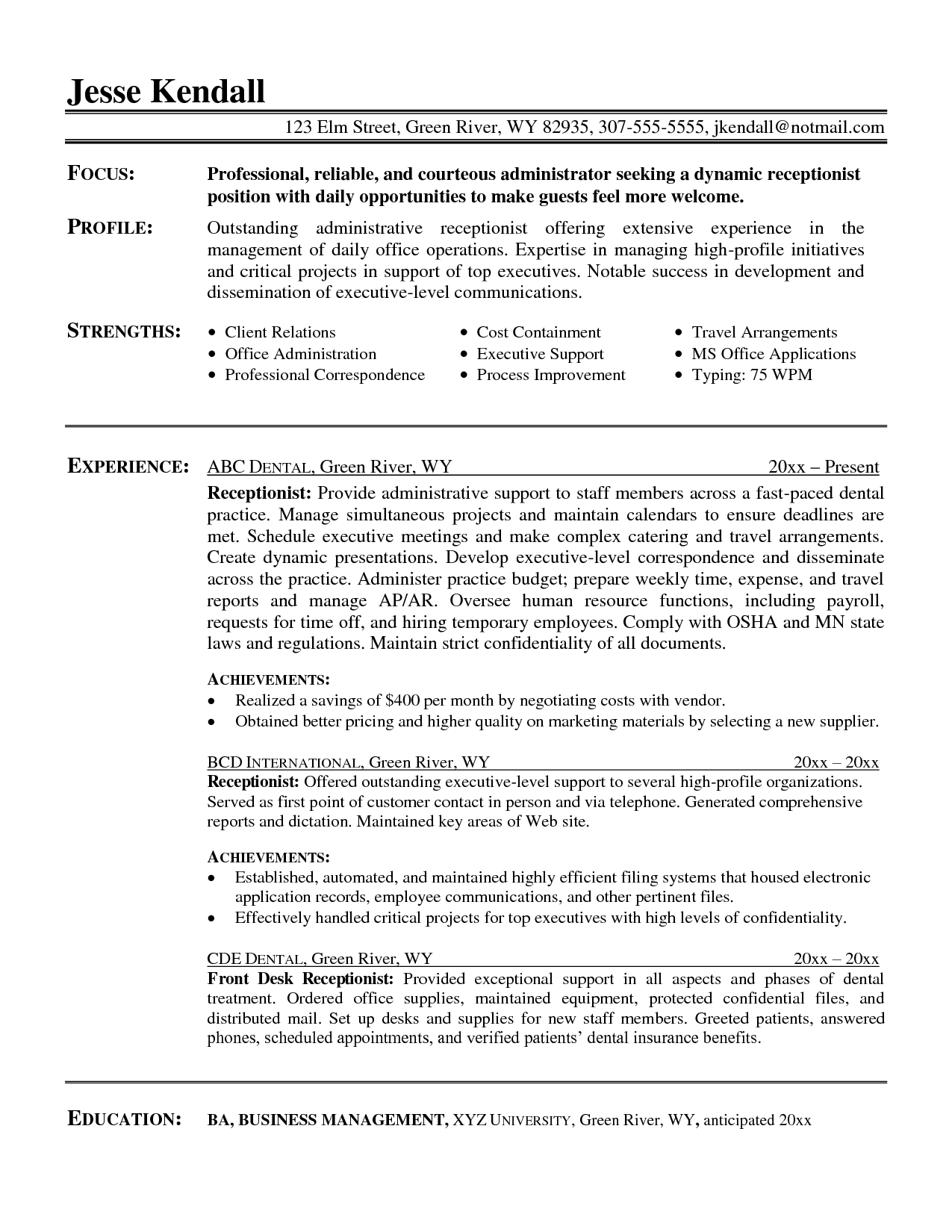 sample receptionist resume example