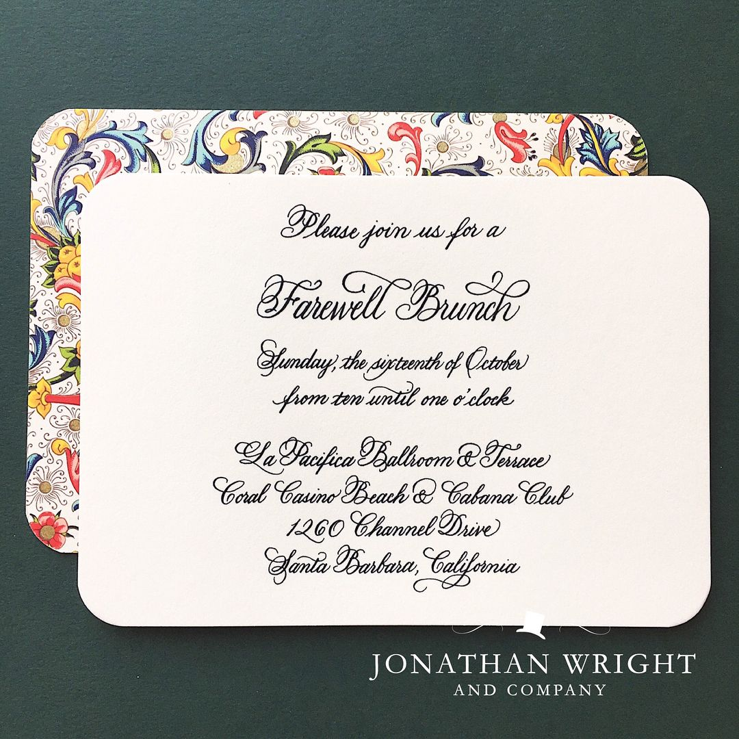 Happy one year anniversary to lauren and brian held in montecito happy one year anniversary to lauren and brian held in montecito their black tie wedding suite featured an engraved invitation gilded rounded corners stopboris Choice Image