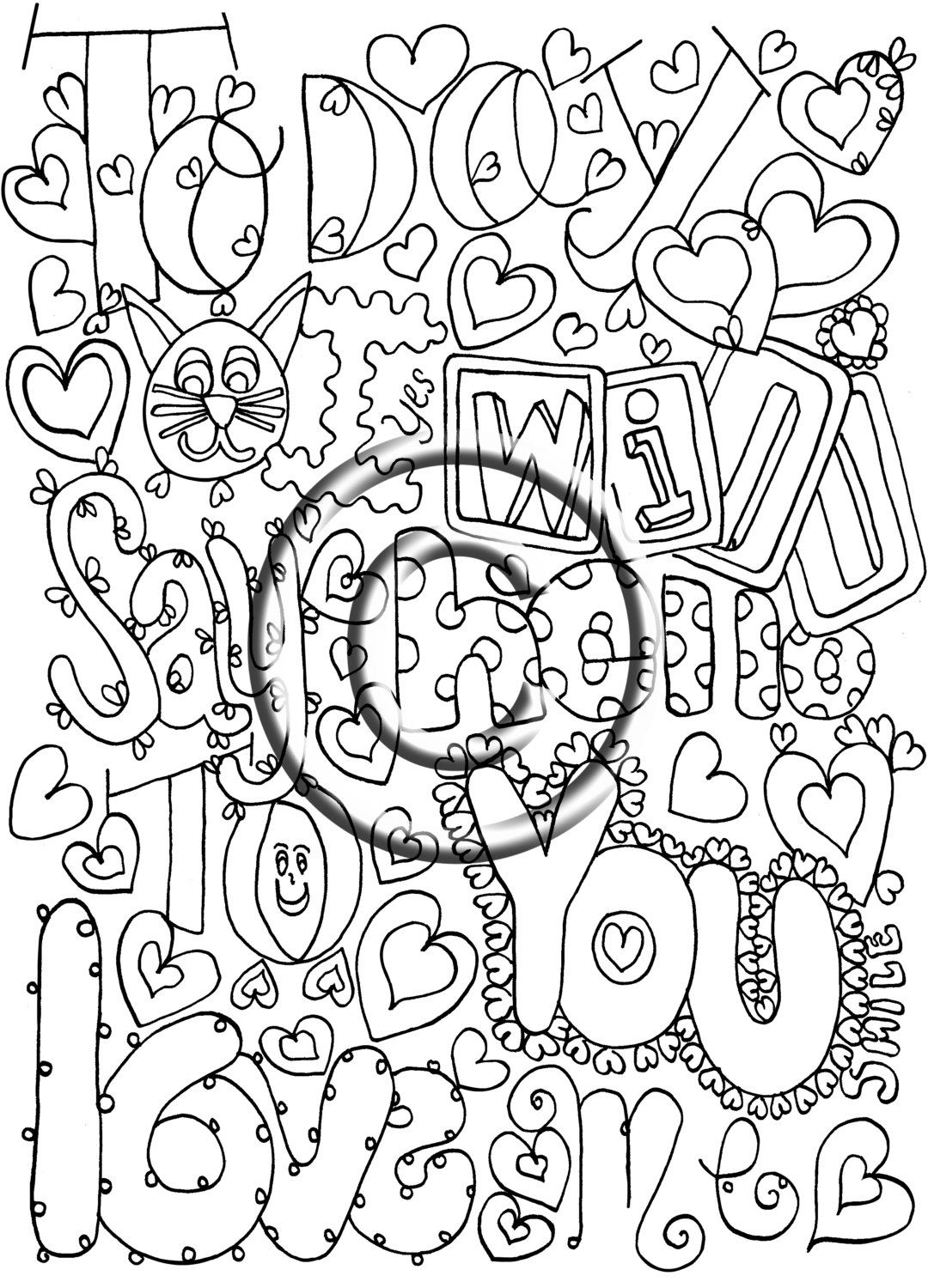 Instant PDF Download Coloring Page, Digital Stamp, Groovy