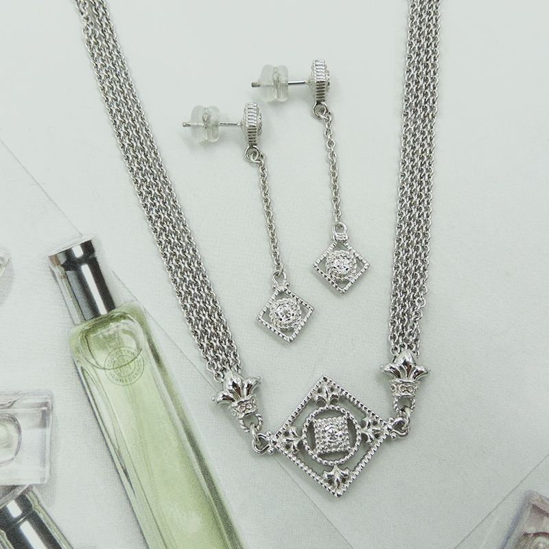 """LOVE THE FLEUR DE LIS ON THESE EUPHORIA STERLING SILVER DIAMOND MULTI STRAND 18"""" NECKLACE AND  DROP EARRINGS!"""