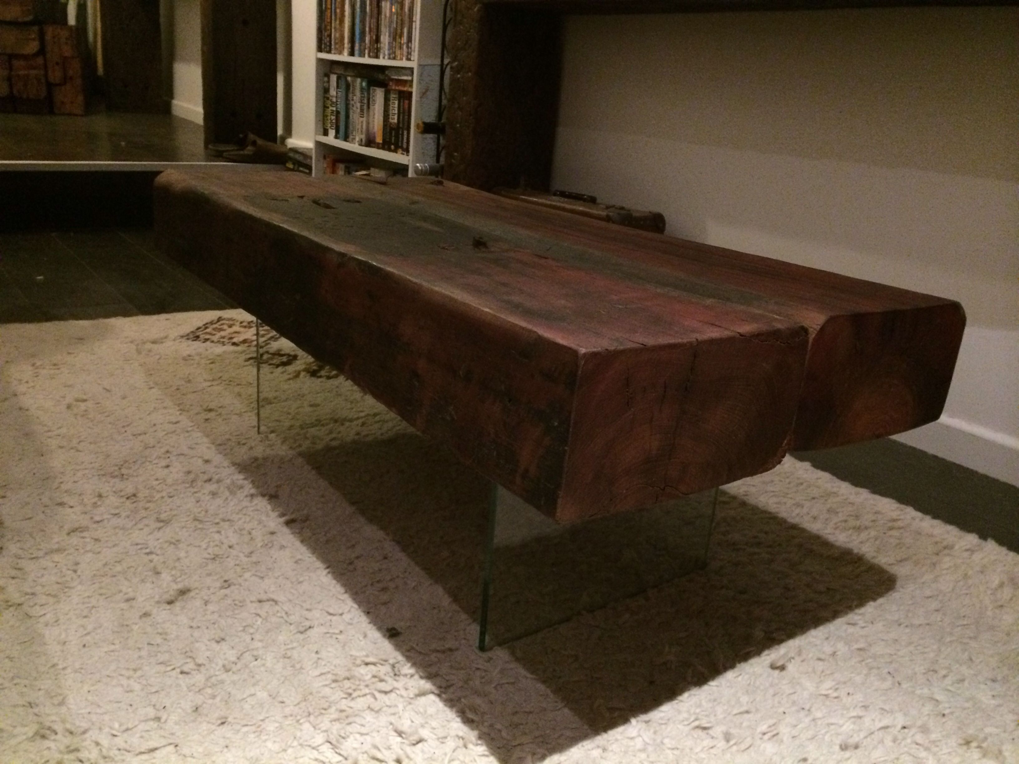 Sanded Smooth Railway Sleeper Coffee Table Floating On