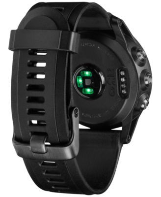 Garmin Unisex Digital Fenix 3 Sapphire Black Silicone Strap Smart Watch 30mm 010-01338-70 - Black