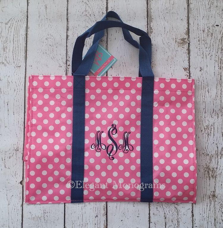 Great idea for teacher gift, bridesmaid gift www.elegantmonograms.com Monogrammed pink white polka dot tote bag