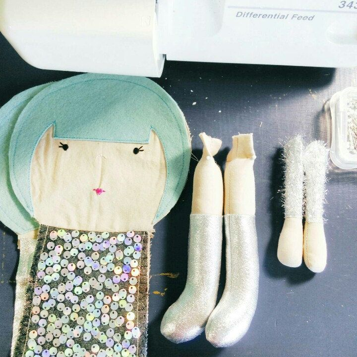 The last step before my handmade dolls come to life.