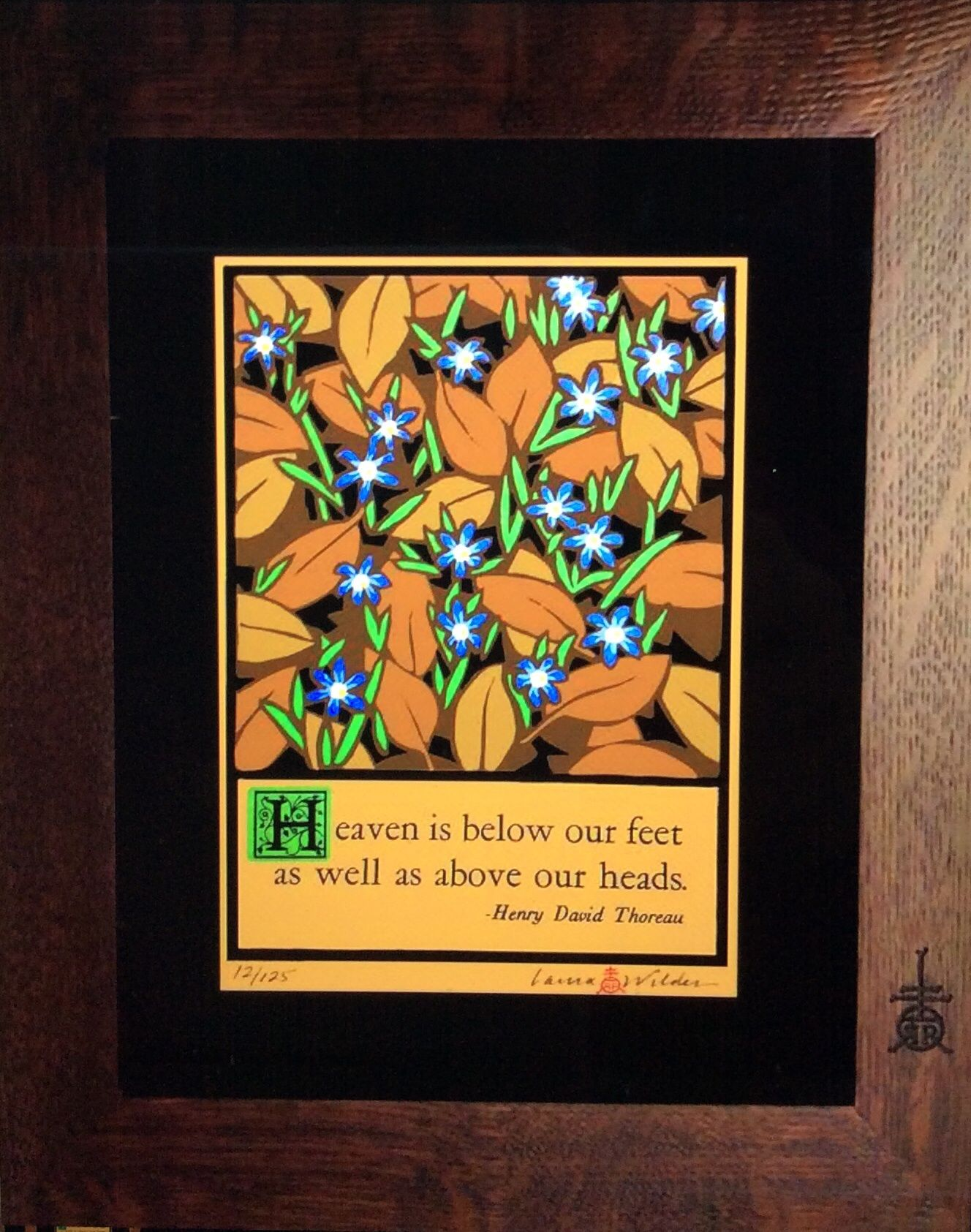 Arts and crafts prints - Blue Flowers Laura Wilder Arts And Crafts Block Print Artist Roycroft Renaissance