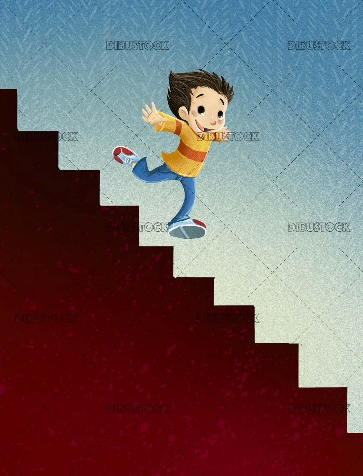 Boy running down some stairs in 2020 How to draw stairs