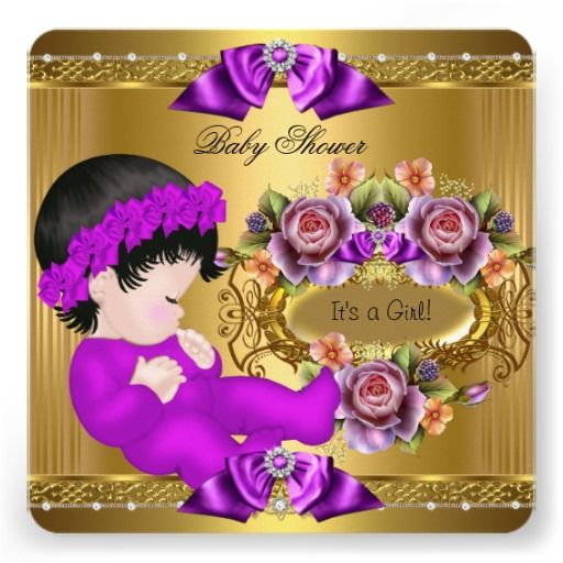 Cute baby shower girl purple pink gold roses invitation pinterest cute baby shower girl purple pink gold roses personalized invitation stopboris Images