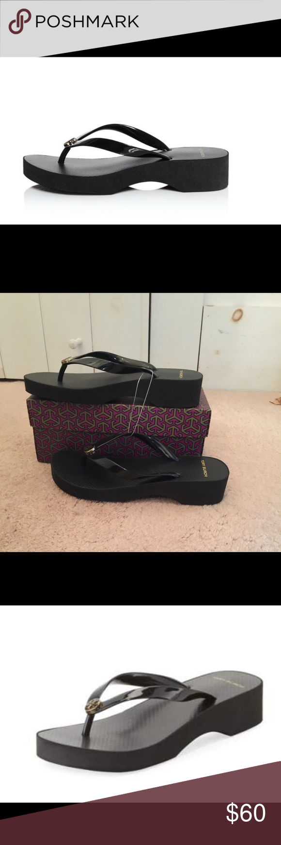 9f1e30d829ae5 Tory Burch Cut Out Wedge Flip Flop % authentic Tory Burch carved out wedge  flip flop NIB iconic stacked T gold logo medallion on strap.