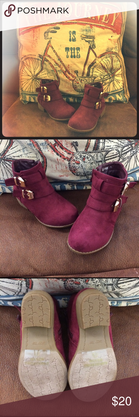 NWOT Faux Suede Boots Adorable ankle booties for a stylish little girl...never got to give them tinny niece this they are new without tag--PERFECT CONDITION. Zippers on inside, small heel and gold buckles for decor. Lucky Top Shoes Boots