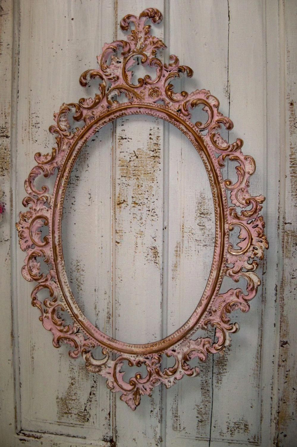 a9068c8421ad Pink ornate large frame accented white gold vintage shabby chic oval  distressed wall decor Anita Spero
