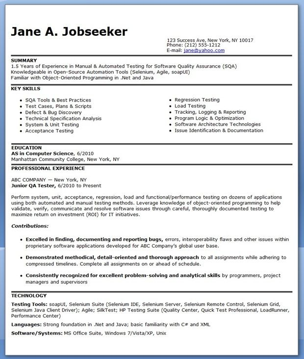 QA Software Tester Resume Sample (Entry Level) Creative Resume - resume examples for experienced professionals