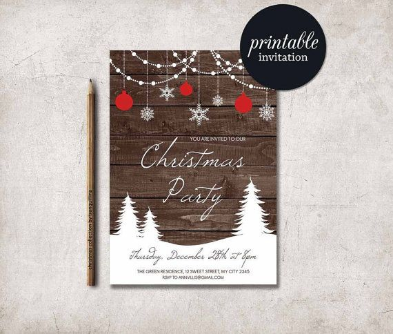 christmas invitation christmas party invite rustic winter. Black Bedroom Furniture Sets. Home Design Ideas