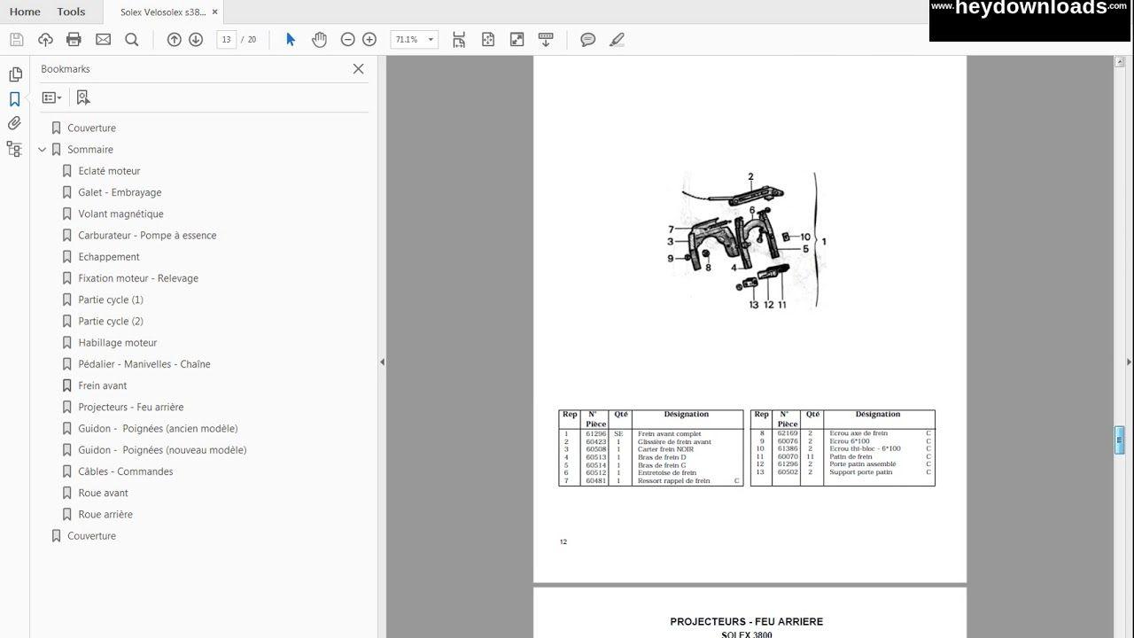 Velosolex Solex S3800 Manual Atelier Fra Manual Repair Manuals Atelier
