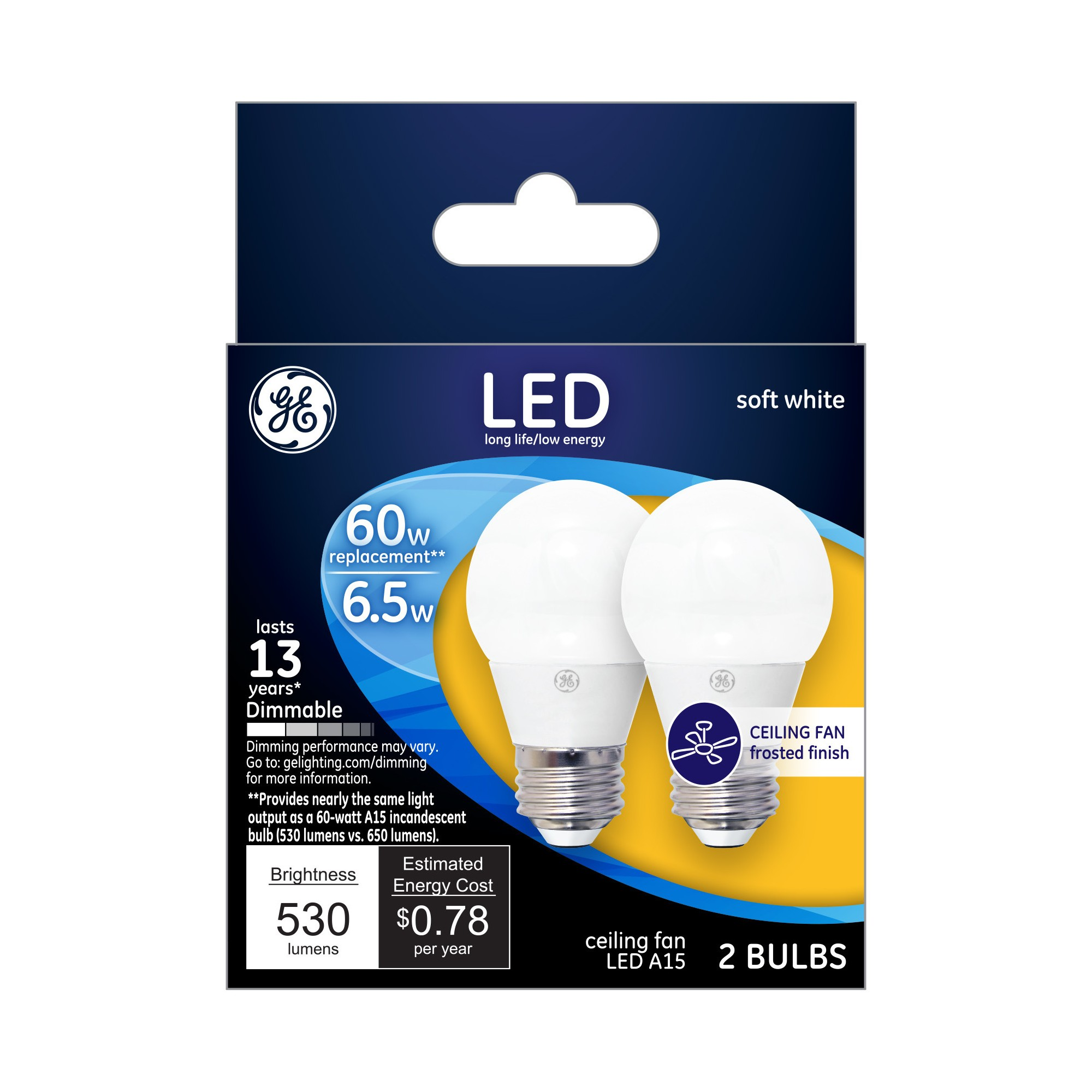 General Electric Led 60 Watt A15 Ceiling Fan Light Bulb 2Pk