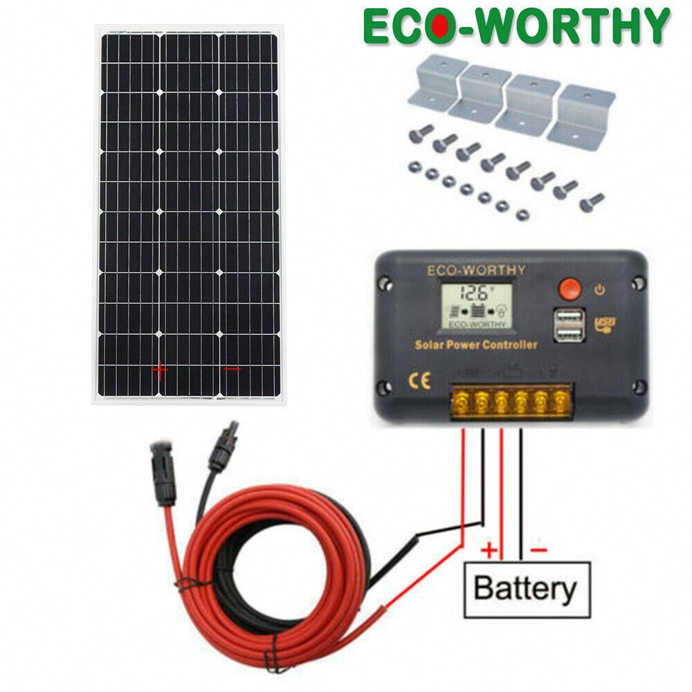 100w Solar Panel Kit W 20a Lcd Solar Controller Charge 12v Off Grid Home Power Solar Power Panels Solar Energy Panels 12v Solar Panel