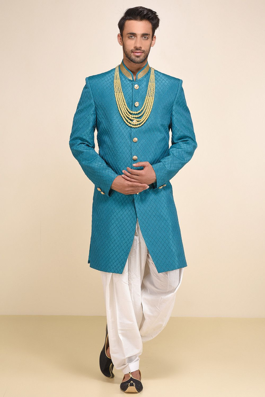 Oshnaar Blue Pintucks Sherwani With Cream Patiyala #flyrobe #groom ...