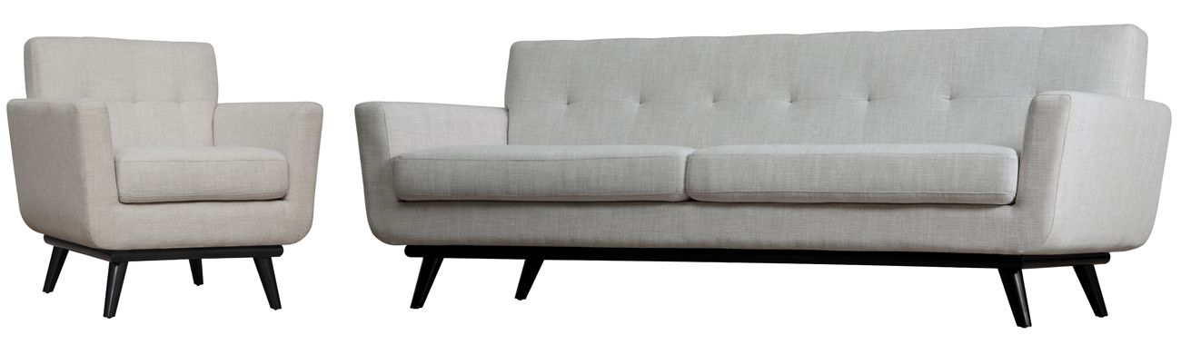 James Beige Black Mixed Linen 2pc Living Room Set