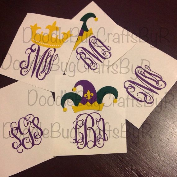 Mardi Gras Vinyl Decal Sticker 2 75 Quot Party Tumbler Personalized Monogram Louisiana Nola New Orleans Carn Vinyl Decals Vinyl Decal Stickers Monogram Decal